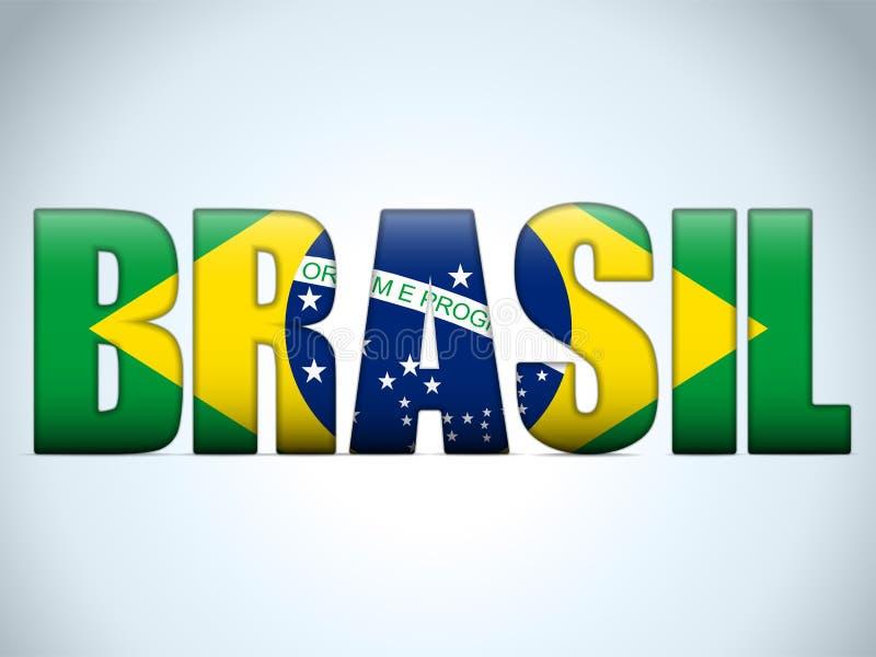 Brasilien 2014 bokstäver med den brasilianska flaggan stock illustrationer