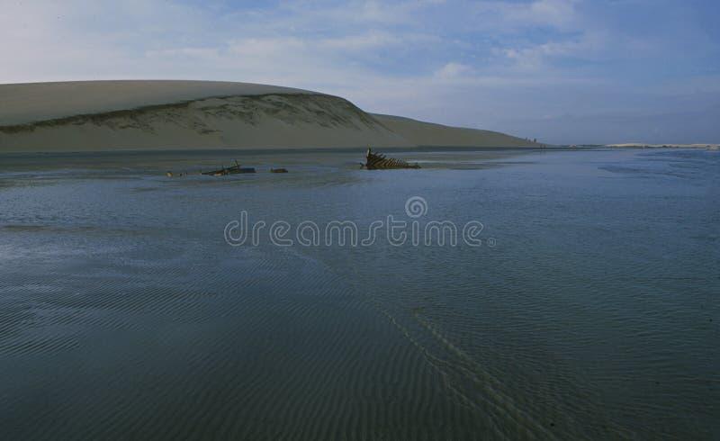 Brasilien: De jätte- sanddunesna på den Jericoacoara stranden royaltyfria bilder