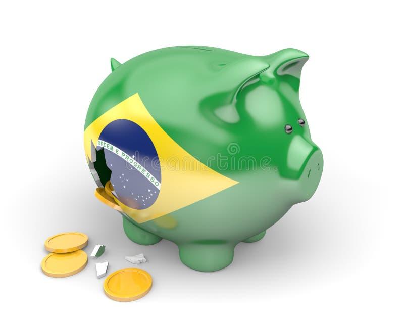 Brasilien ekonomi och finansbegrepp för offentliga utgifter och statsskulder royaltyfri illustrationer