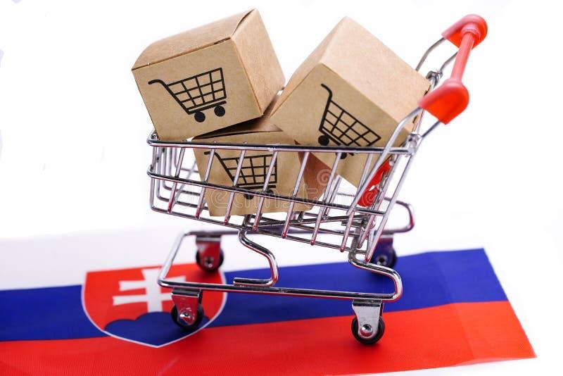 Brasilien: Förstoringsglas med världshandskeöversikten Ask med logo för shoppingvagn och den Slovakien flaggan: Importexport som  royaltyfri bild