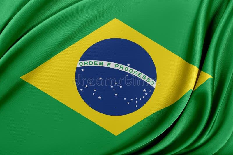 Brasilien flagga med en glansig siden- textur vektor illustrationer
