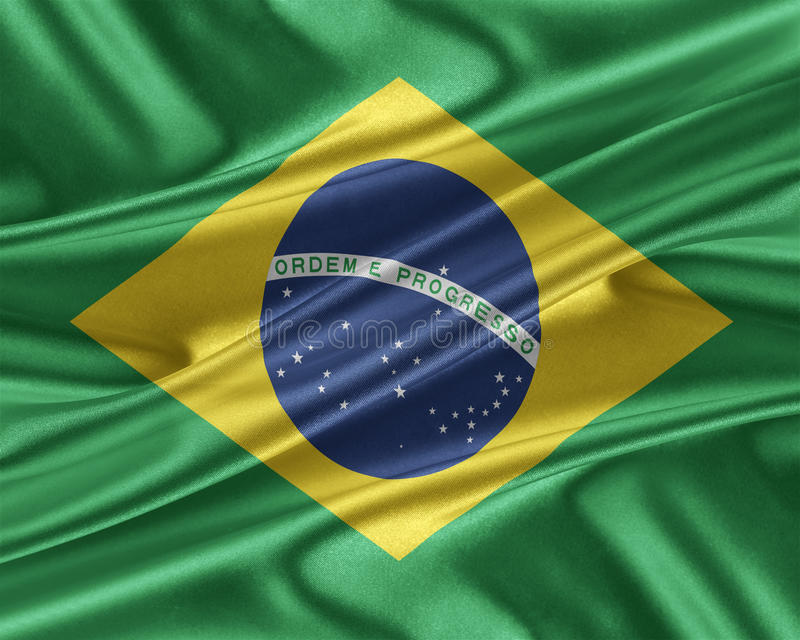 Brasilien flagga med en glansig siden- textur stock illustrationer