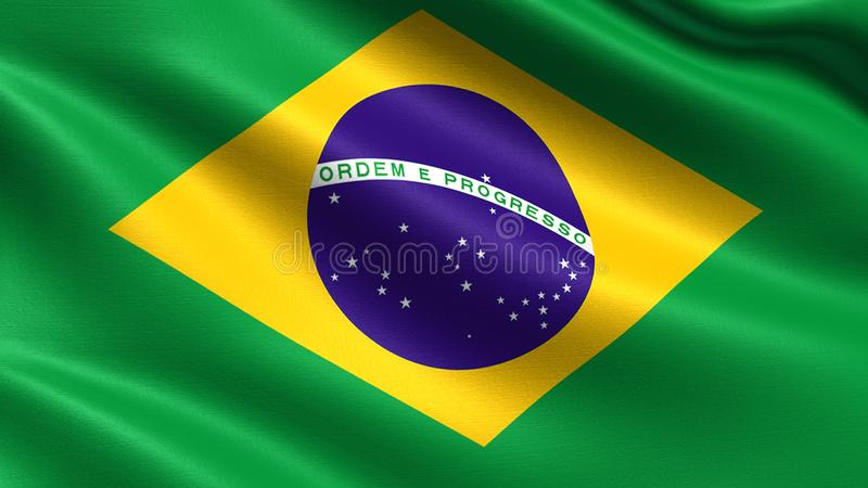 Brasilien flagga, med vinkande tygtextur arkivfoto
