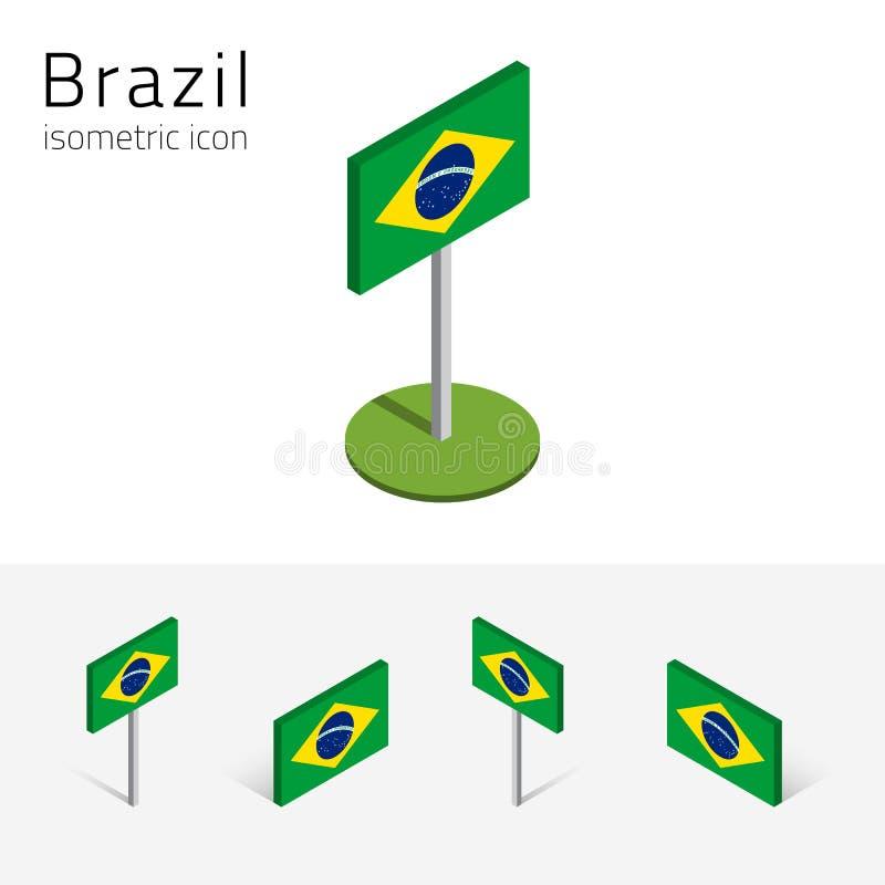 Brasilien flagga, vektoruppsättning av isometriska symboler 3D royaltyfri illustrationer