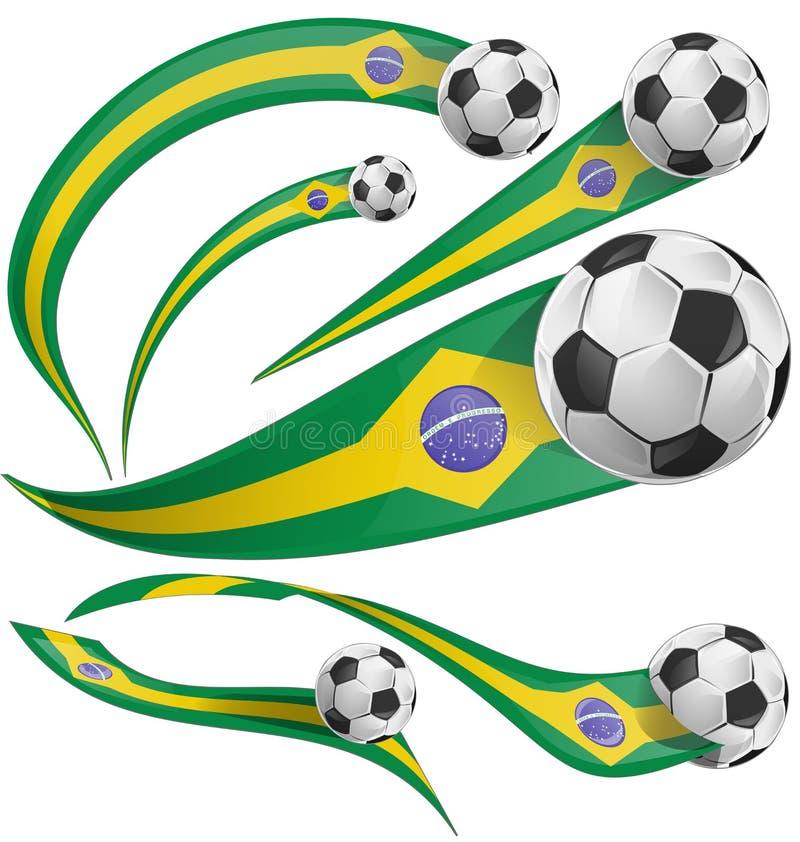 Brasilien flaggabeståndsdel med fotbollbollen fotografering för bildbyråer