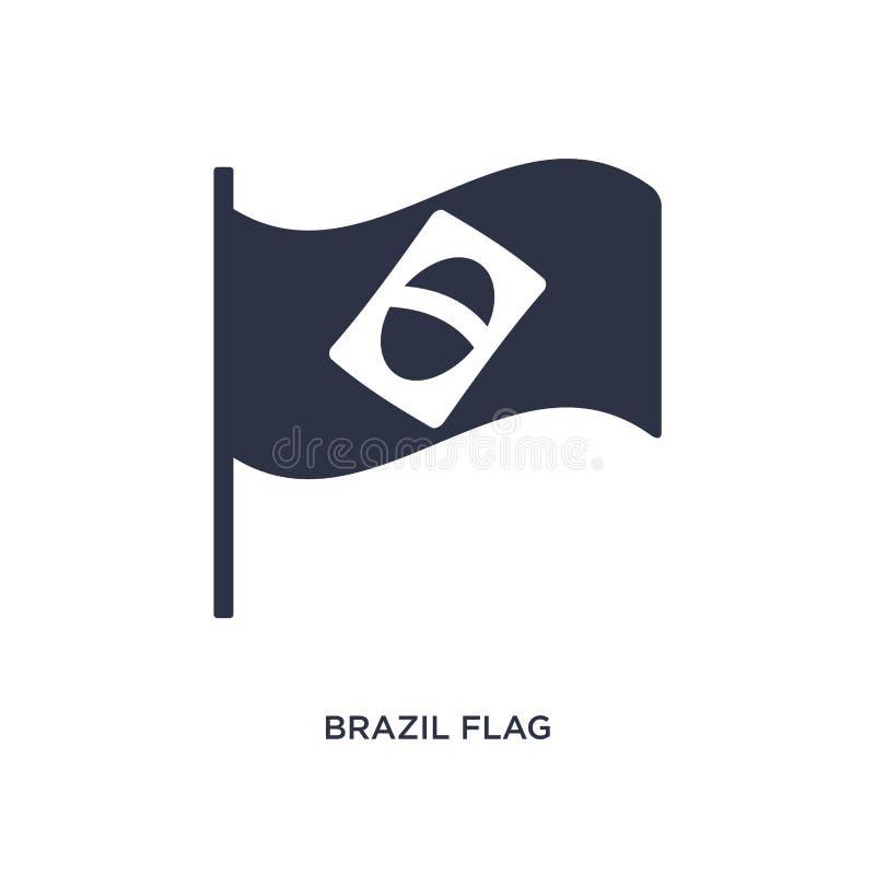 Brasilien flaggasymbol på vit bakgrund Enkel beståndsdelillustration från kulturbegrepp vektor illustrationer