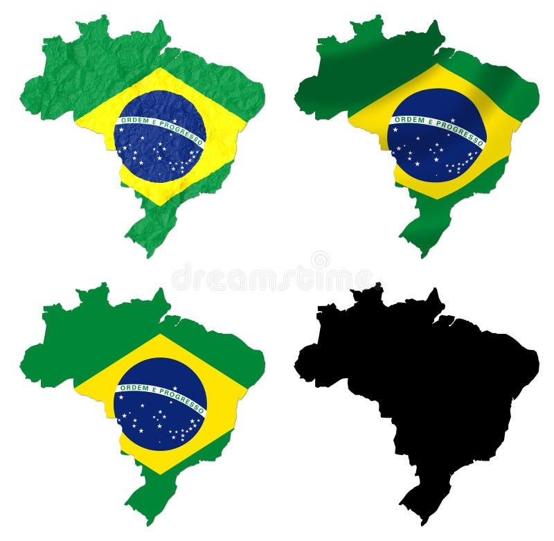 Brasilien-Flagge über Karte lizenzfreie abbildung