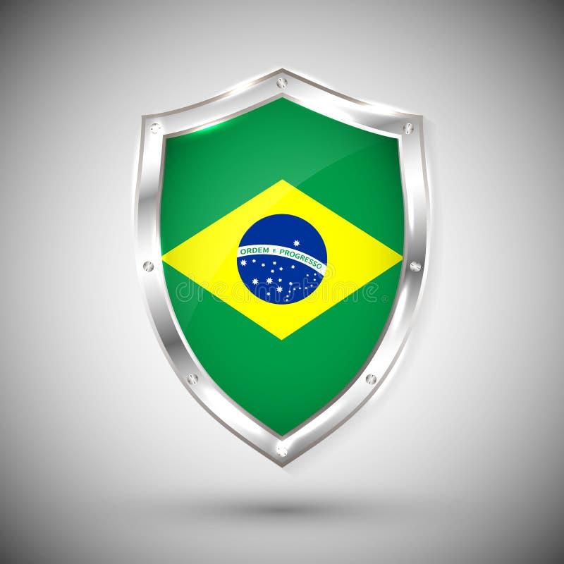 Brasilien-Flagge auf Metallglänzender Schild-Vektorillustration Sammlung Flaggen auf Schild gegen weißen Hintergrund Zusammenfass lizenzfreie abbildung