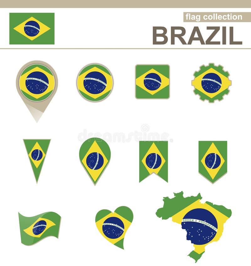 Brasilien-Flaggensammlung stock abbildung