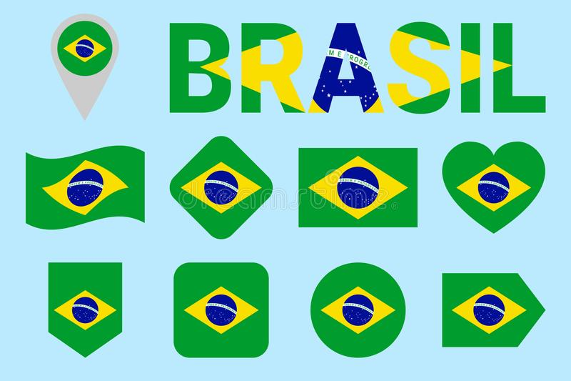 Brasilien-Flaggensammlung Brasilianische Flaggen des Vektors eingestellt Ebene lokalisierte Ikonen mit Zustandsnamen Traditionell vektor abbildung