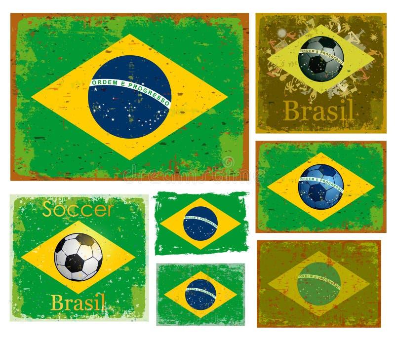 Brasilien-Flaggensammlungsvektor stock abbildung