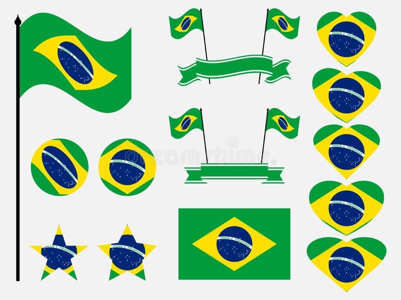 Brasilien-Flaggensatz Sammlung Symbole, Flagge im Herzen Vektor lizenzfreie abbildung
