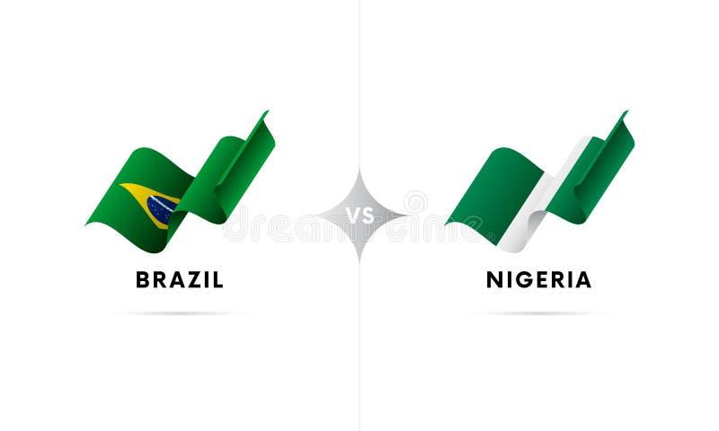 Brasilien gegen Nigeria Fußball Auch im corel abgehobenen Betrag stock abbildung