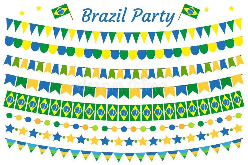 Brasilien girlanduppsättning Brasiliansk festlig bunting för garneringar Partibeståndsdelar, flaggor bakgrund isolerad white vekt royaltyfri illustrationer