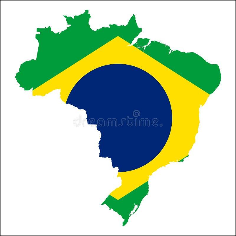Brasilien hög upplösningsöversikt med nationsflaggan royaltyfri illustrationer