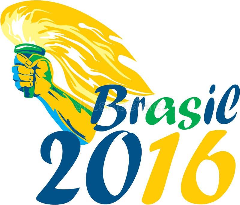 Brasilien idrottsman nen Hand Flaming Torch för 2016 sommarlekar vektor illustrationer