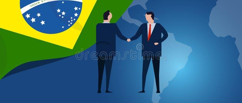 Brasilien internationalpartnerskap Diplomatiförhandling Handskakning för överenskommelse för affärsförhållande Landsflagga och öv vektor illustrationer