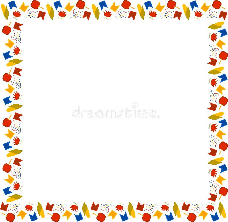 Brasilien Juni festival Festa Junina Fyrkantig ram av mång--färgad havre, brasor, flaggor, konfettier, äpplen i karamell på en vi stock illustrationer