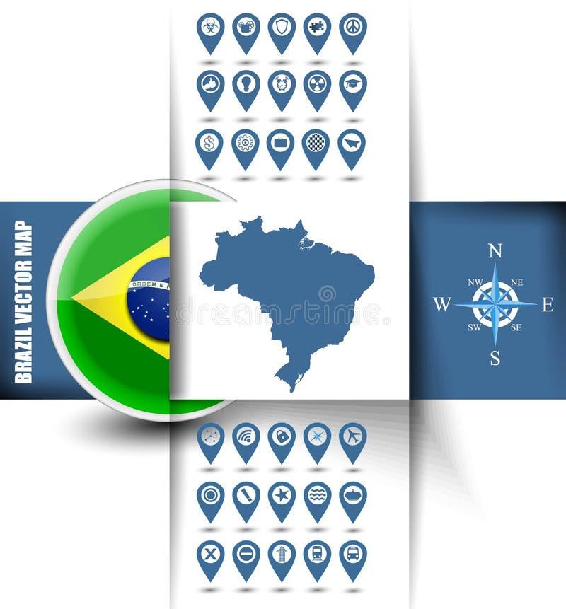 Brasilien-Kartenkontur mit GPS-Ikonen stock abbildung