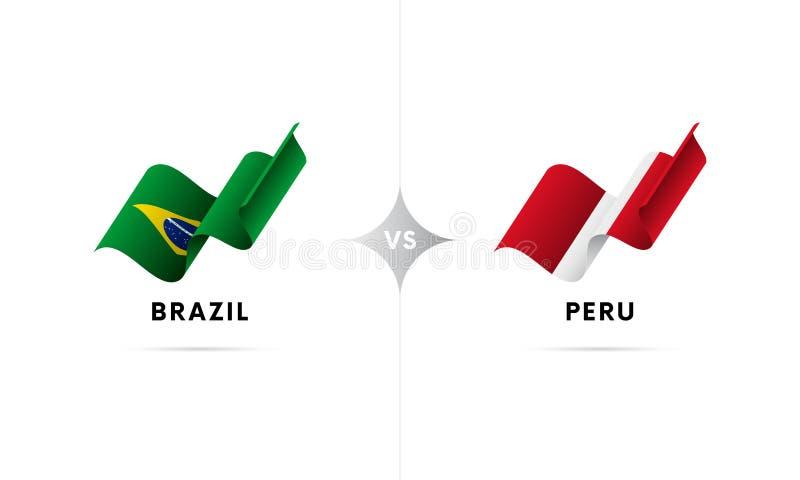 Brasilien kontra Peru Fotboll också vektor för coreldrawillustration vektor illustrationer