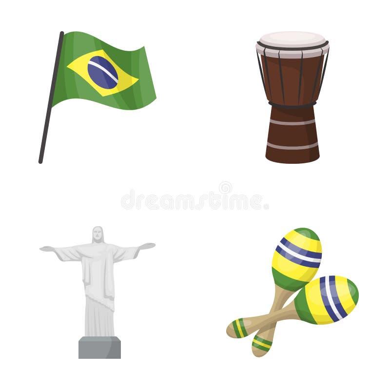 Brasilien, Land, Flagge, Trommel Vector gesetzte Sammlungsikonen Brasilien-Landes in der Karikaturart Illustrationsnetz des Symbo lizenzfreie abbildung