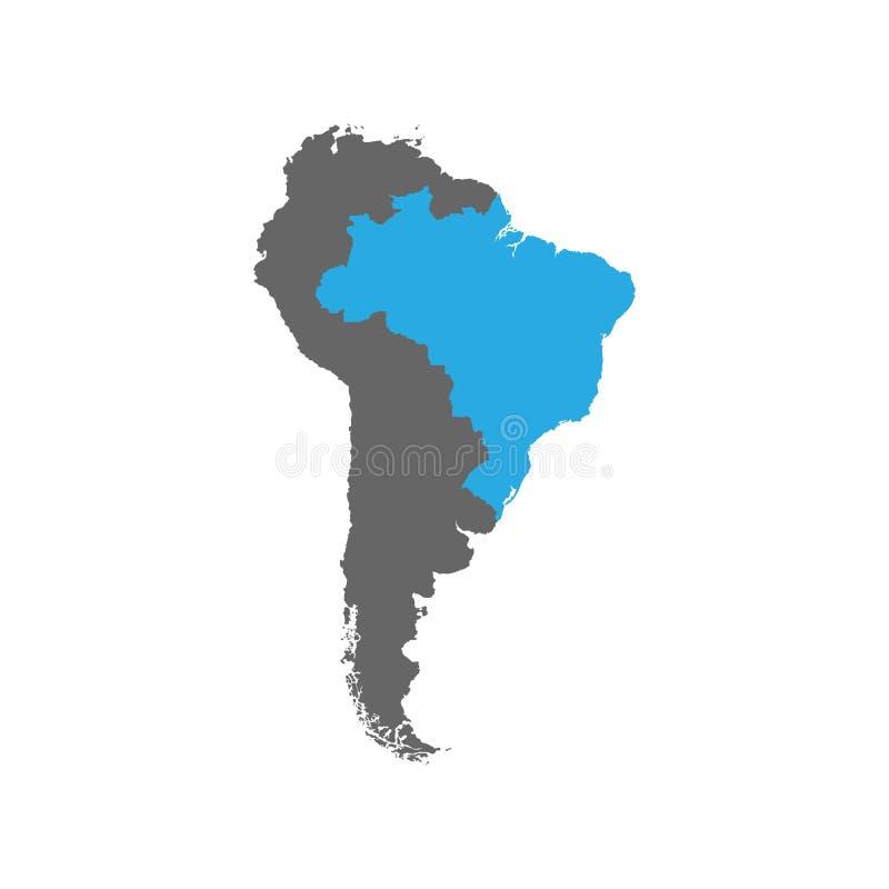 Brasilien markeras i blått på Sydamerikaet royaltyfri illustrationer