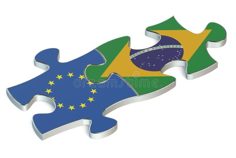 Brasilien och EU-pussel från flaggor 3d stock illustrationer