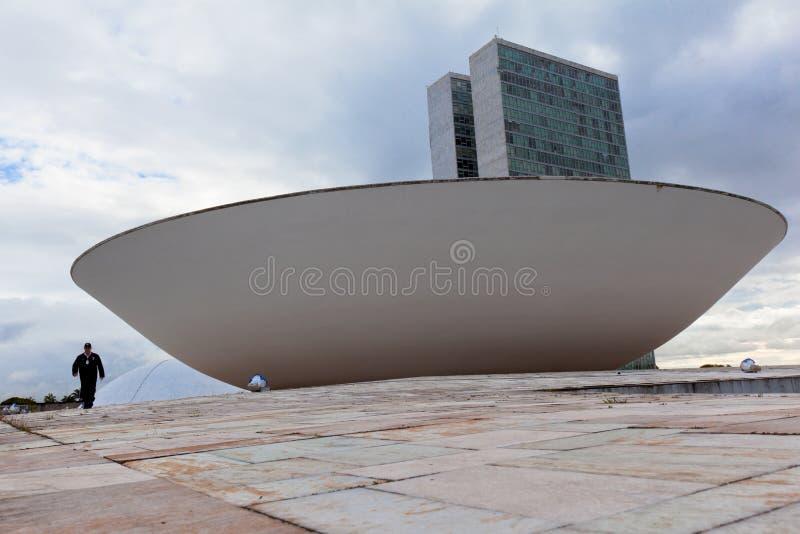 Brasilien rådsmöte med flaggan i bakgrunden i Brasilia fotografering för bildbyråer