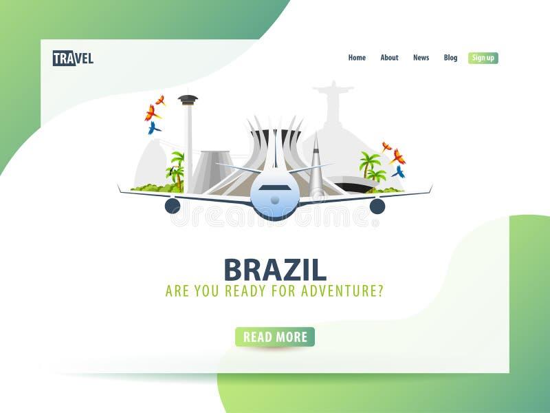 brasilien Reisefahne oder Netzschablone für Website oder Landungsseite Zeit zu reisen Illustration des Vektors UI lizenzfreie abbildung
