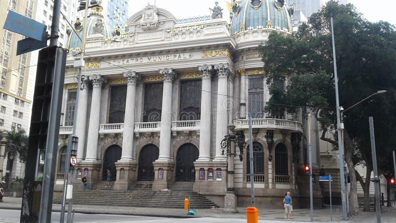 Brasilien - Rio de Janeiro - centrum - Rio Branco Avenue - Cinelandia - kommunal teater fotografering för bildbyråer