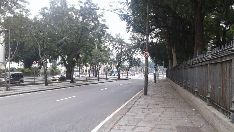 Brasilien - Rio de Janeiro - Stadtzentrum - Teixeira de Freitas Street - Bäume - Stadt - Park stockfotos