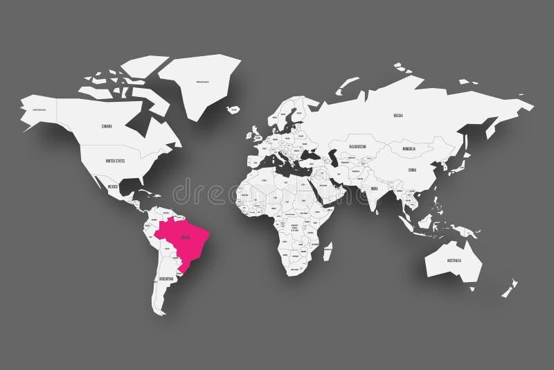 Brasilien rosa färger som markeras i översikt av världen Ljus - grå färg förenklad översikt med tappad skugga på mörk grå bakgrun stock illustrationer
