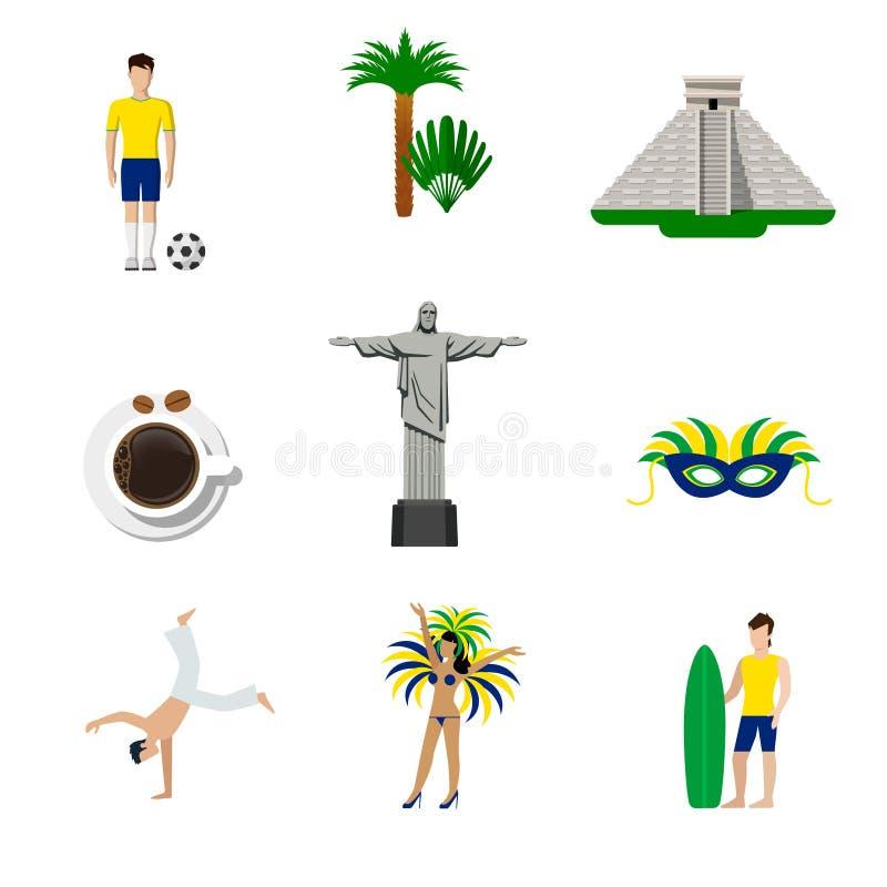 Brasilien sänker brasilianska nationella symboler vektorn vektor illustrationer