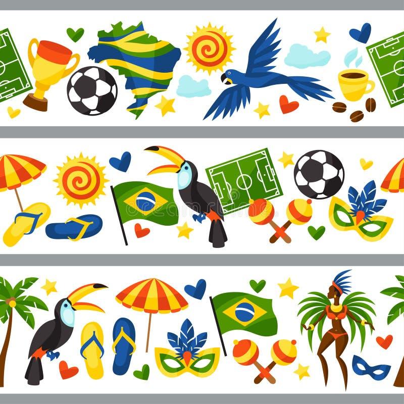 Brasilien sömlösa gränser med stiliserade objekt och stock illustrationer
