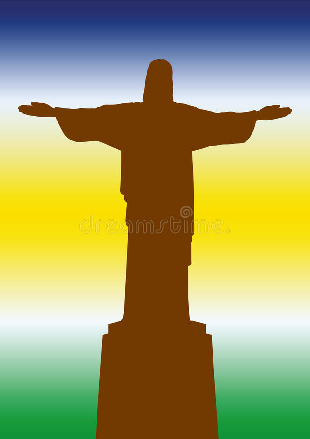 Brasilien staty av Jesus stock illustrationer