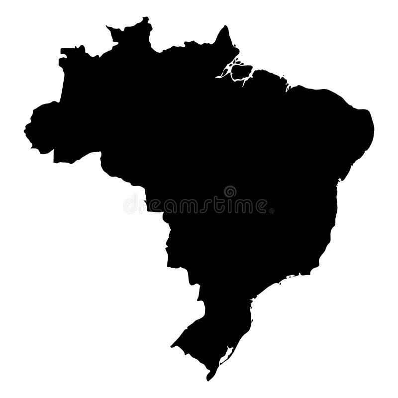 Brasilien - svart konturöversikt för heltäckande av landsområde Enkel plan vektorillustration stock illustrationer