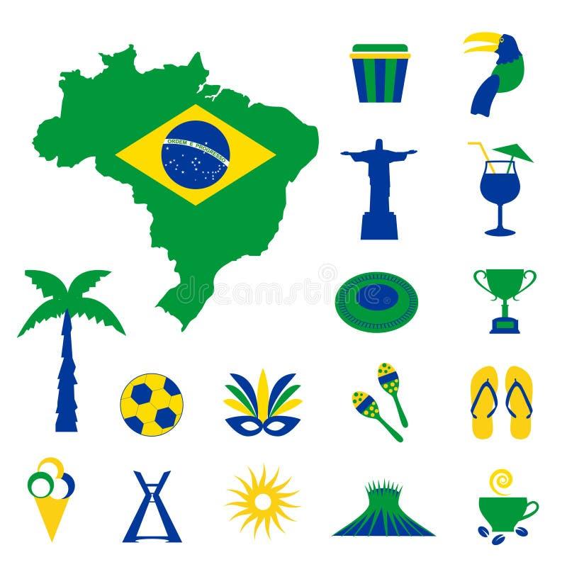 Brasilien symboler med översikten och flaggan stock illustrationer