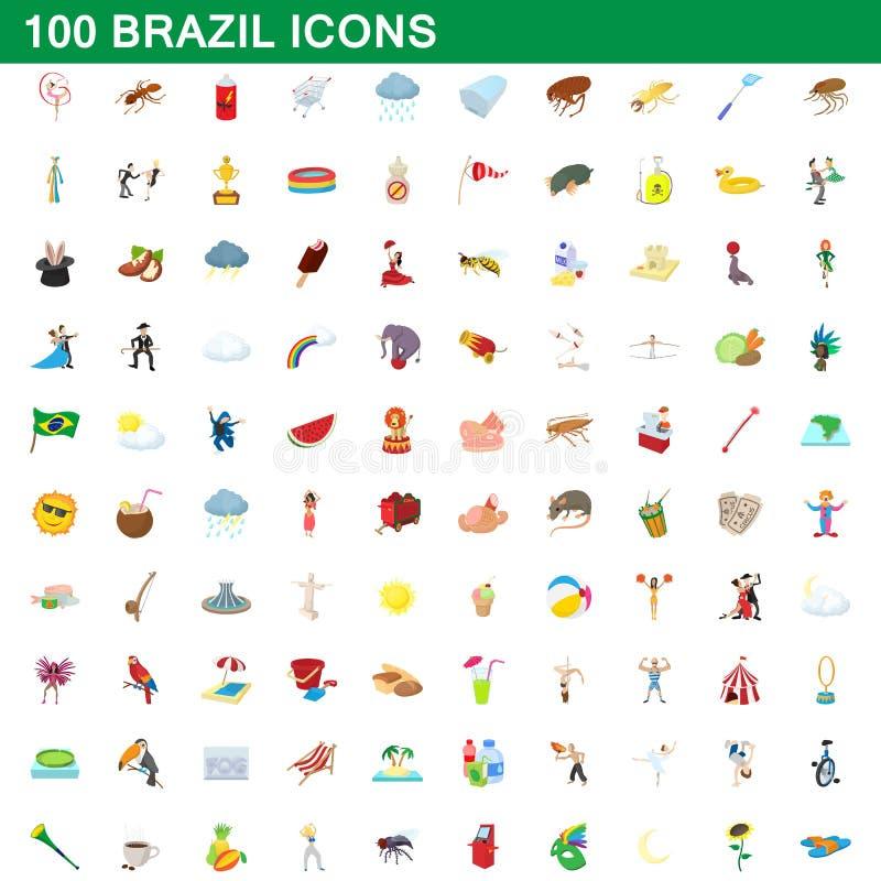 100 Brasilien symboler uppsättning, tecknad filmstil royaltyfri illustrationer