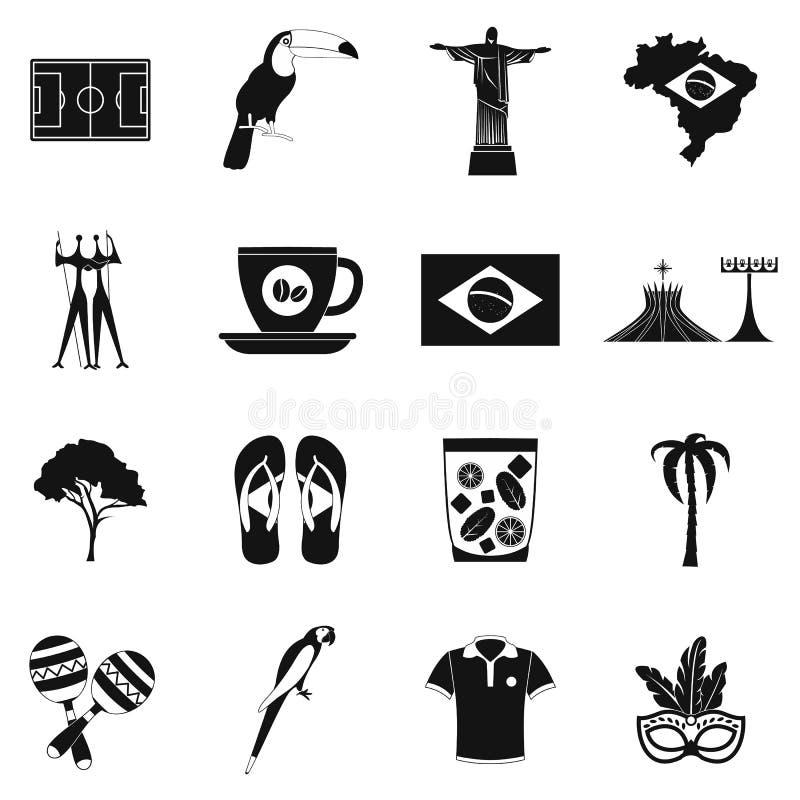 Brasilien symbolssvart royaltyfri illustrationer