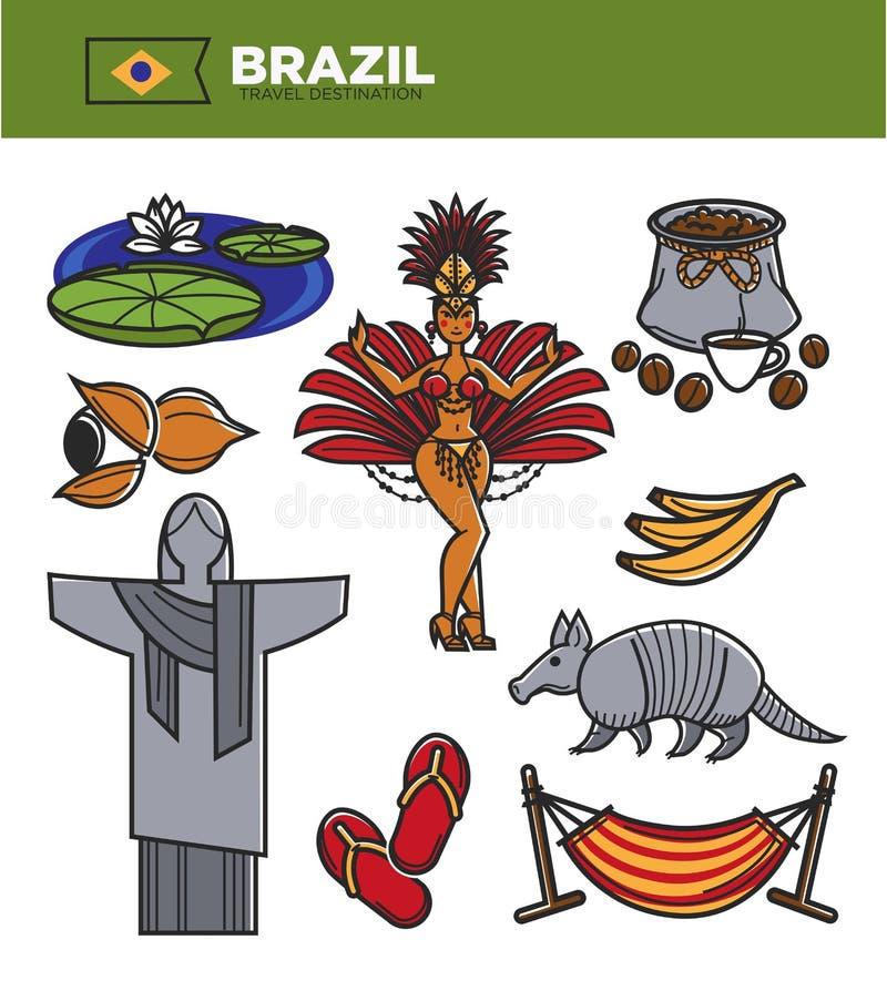 Brasilien-Tourismusreisemarksteine und berühmte Besichtigungsvektorikonen eingestellt stock abbildung