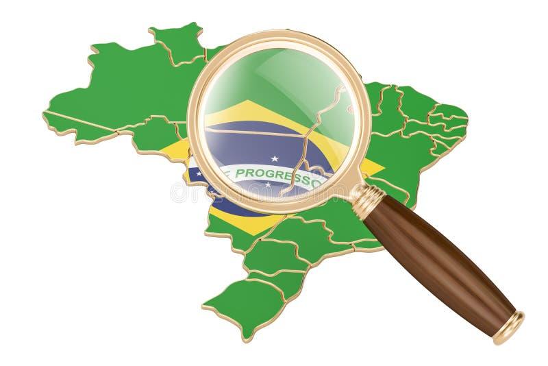 Brasilien under förstoringsglaset, analysbegrepp, tolkning 3D stock illustrationer