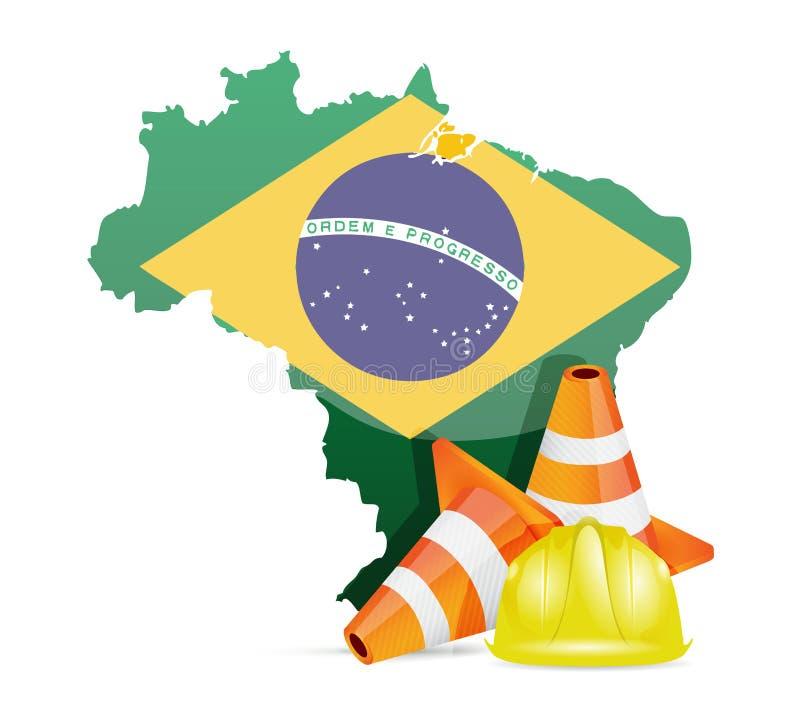 Brasilien under konstruktionsbegrepp royaltyfri illustrationer