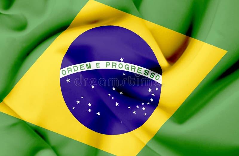 Brasilien vinkande flagga royaltyfri fotografi