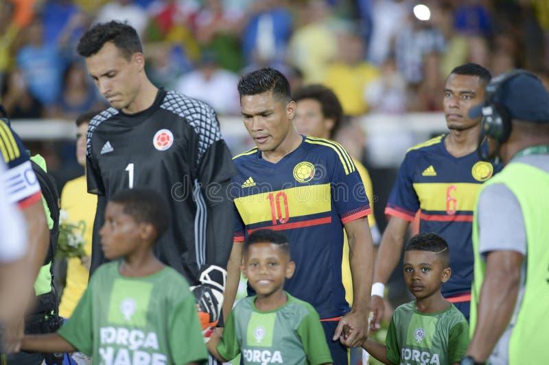 Brasilien vs Colombia royaltyfri bild