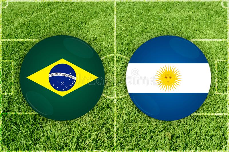 Brasilien vs den Argentina fotbollsmatchen royaltyfri illustrationer