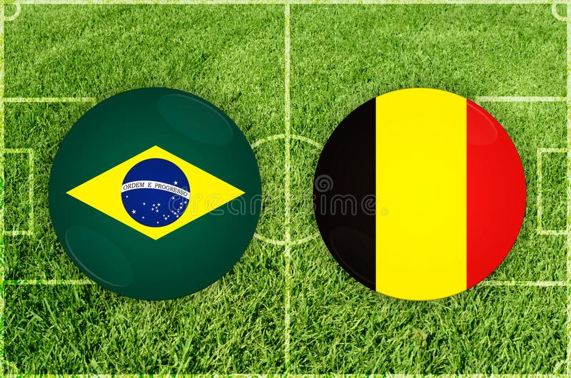 Brasilien vs den Belgien fotbollsmatchen stock illustrationer