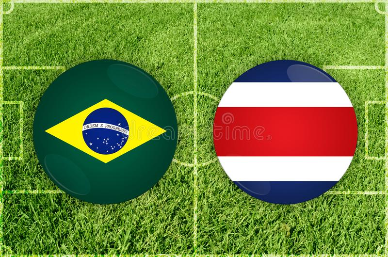 Brasilien vs den Costa Rica fotbollsmatchen stock illustrationer
