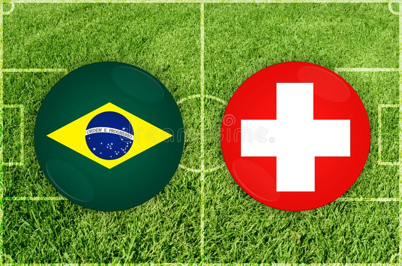 Brasilien vs den Schweiz fotbollsmatchen stock illustrationer