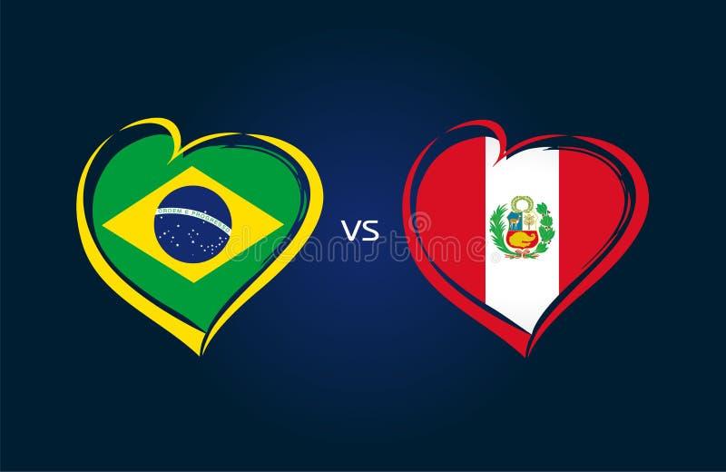 Brasilien vs Peru, landslagflaggor på blå bakgrund royaltyfri illustrationer