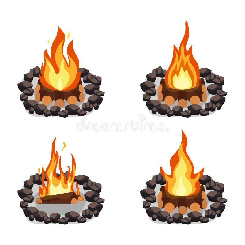 Brasor ställde in och att bränna vedtrave och rundan av stenar, lägereld eller spisen på vedträ stock illustrationer